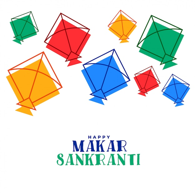 Tarjeta de felicitación colorida del festival de makar sankranti de las cometas voladoras vector gratuito