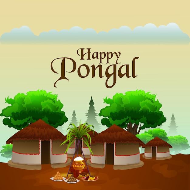 Tarjeta de felicitación creativa con caña de azúcar y trasfondo religioso para happy pongal Vector Premium