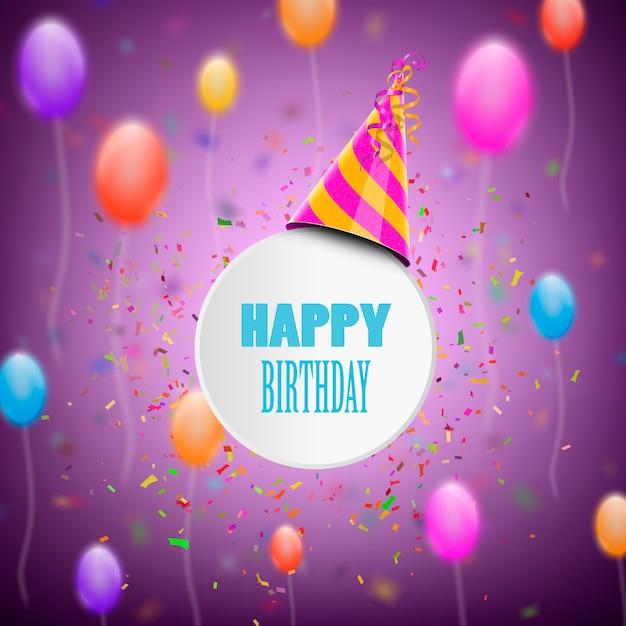 Tarjeta de felicitación de cumpleaños feliz Vector Premium
