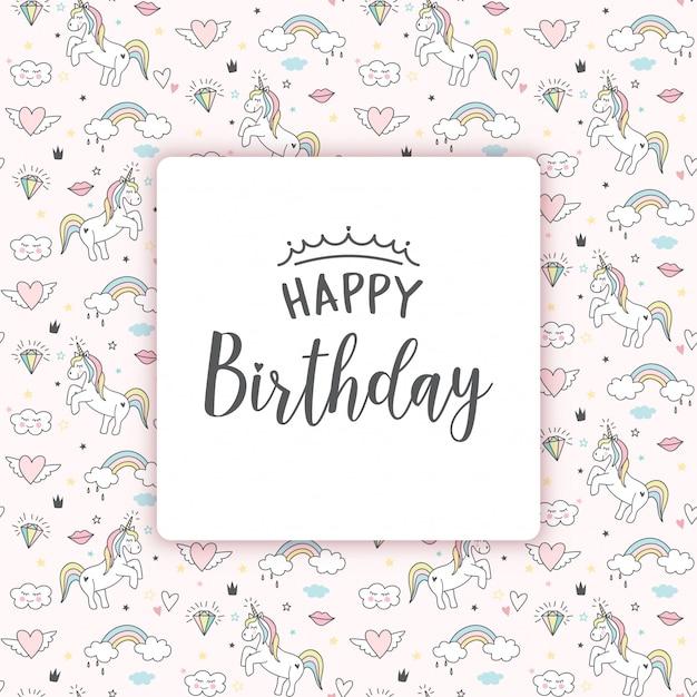 Tarjeta de felicitación de cumpleaños con unicornios Vector Premium