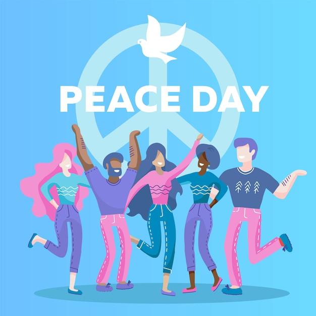 Tarjeta de felicitación del día internacional de la paz con el símbolo de la paloma. cinco personas de diferentes razas, nacionalidades se abrazan juntas. Vector Premium