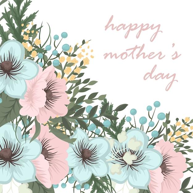 Tarjeta de felicitación del día de la madre con flores en flor. vector gratuito