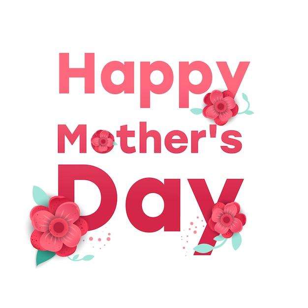 Tarjeta de felicitación del día de la madre con flores de origami flor Vector Premium