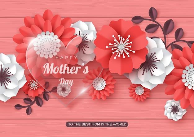 Tarjeta de felicitación del día de las madres felices. flores de corte de papel 3d con corazón transparente de vidrio Vector Premium