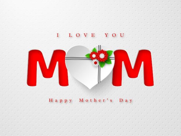 Tarjeta de felicitación del día de las madres felices. palabra mamá en estilo artesanal de papel con flores decoradas con corazón 3d Vector Premium