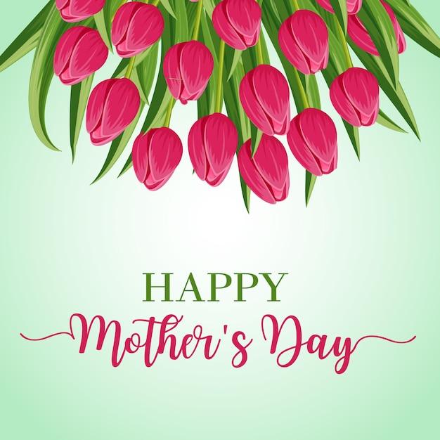 Tarjeta de felicitación del día de las madres felices Vector Premium