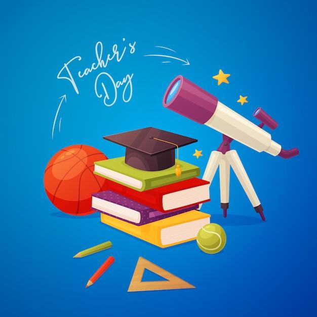 Tarjeta de felicitación del día del maestro con telescopio, libros, gorra, lápices, regla, bolas y estrellas. Vector Premium