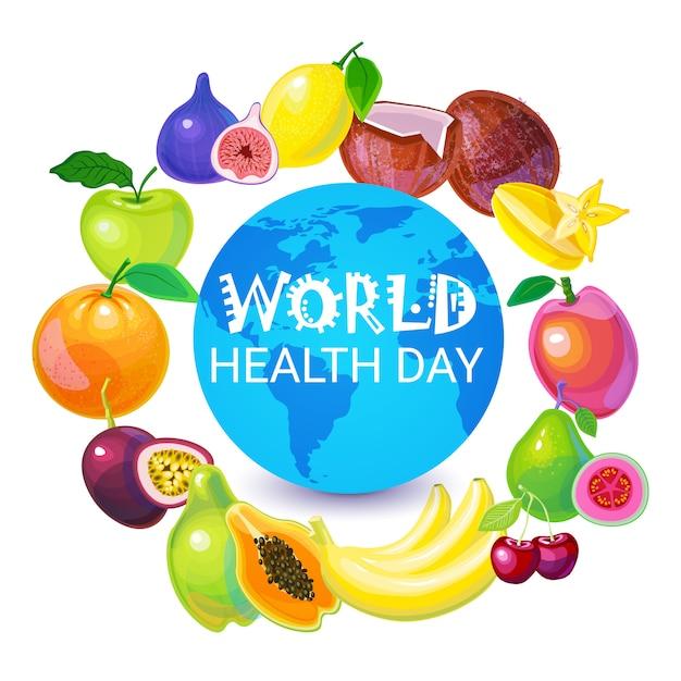 Tarjeta de felicitación del día mundial de la salud del planeta tierra Vector Premium