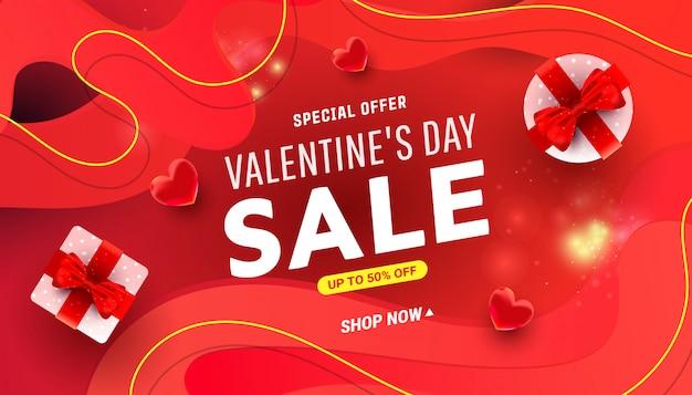 Tarjeta de felicitación del día de san valentín con cajas sorpresa, decoración liqvid en rojo. Vector Premium
