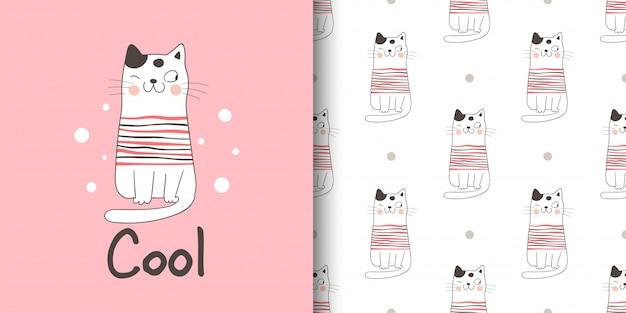Tarjeta de felicitación y estampado de gato para tela textil niños. Vector Premium