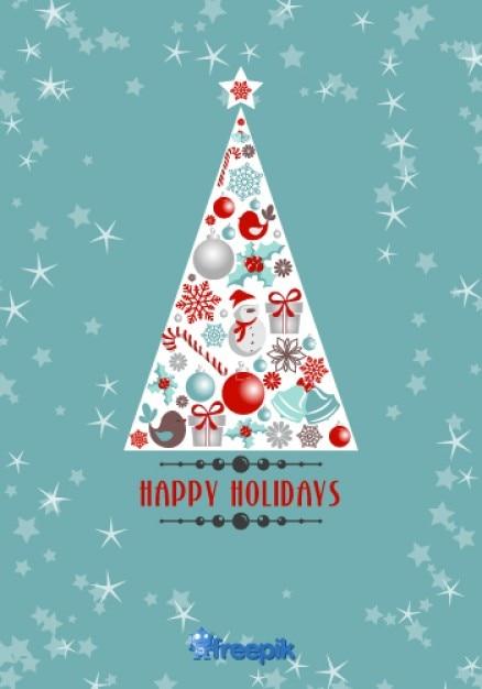 tarjeta de felicitación de felices fiestas de árbol de navidad con