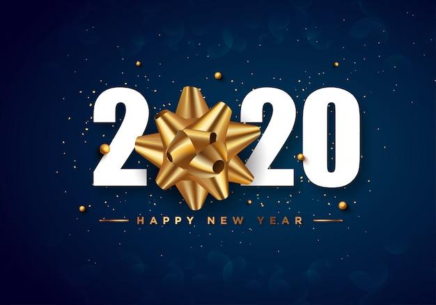 Tarjeta de felicitación de feliz año nuevo 2020 fondo de confeti dorado Vector Premium