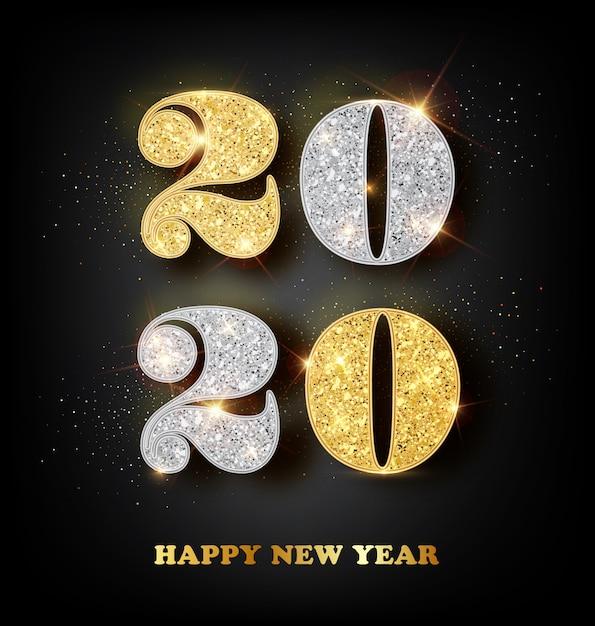 Tarjeta de felicitación de feliz año nuevo 2020 con números de oro y plata en negro Vector Premium