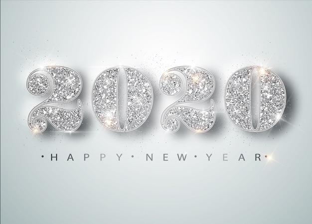 Tarjeta de felicitación de feliz año nuevo 2020 con números de plata y marco de confeti en blanco. folleto o póster de feliz navidad Vector Premium