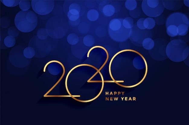 Tarjeta de felicitación de feliz año nuevo 2020 oro y azul bokeh vector gratuito