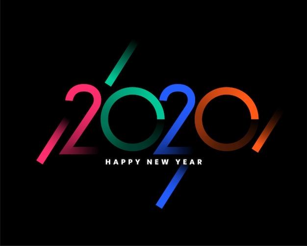 Tarjeta de felicitación de feliz año nuevo 2020 vector gratuito