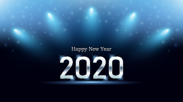 Tarjeta de felicitación de feliz año nuevo 2020 Vector Premium