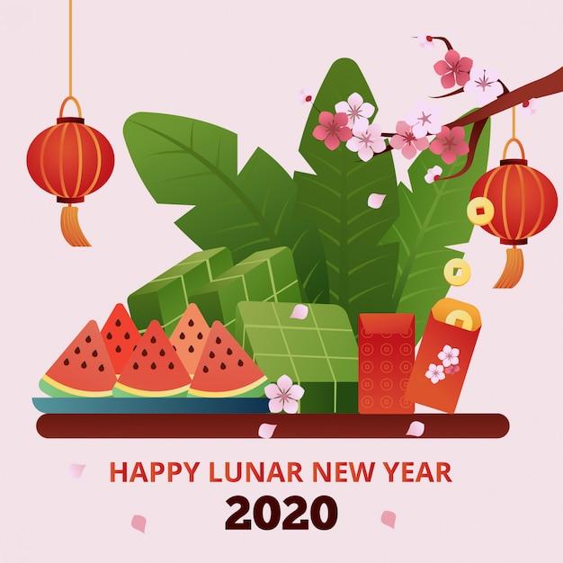 Tarjeta de felicitación feliz año nuevo lunar 2020 Vector Premium