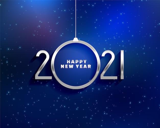 Tarjeta de felicitación de feliz año nuevo con números de metales 2021 y forma de bola navideña vector gratuito
