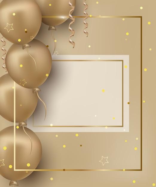 Tarjeta de felicitación de feliz cumpleaños con globos dorados en el fondo dorado. Vector Premium