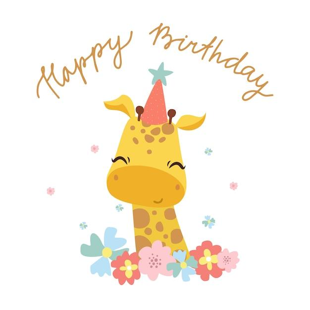 Tarjeta de felicitación de feliz cumpleaños con linda jirafa vector gratuito