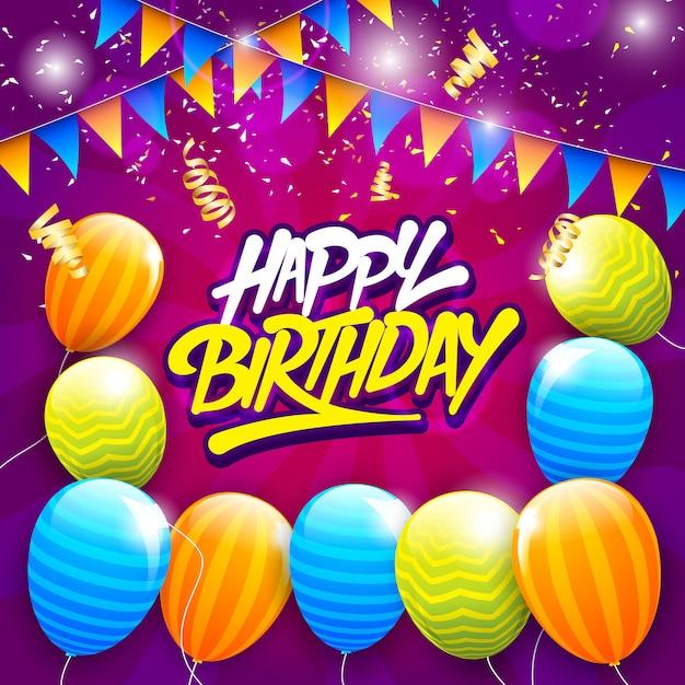 Tarjeta de felicitación de feliz cumpleaños con tipografía y globos, banderas de cumpleaños y emoción Vector Premium