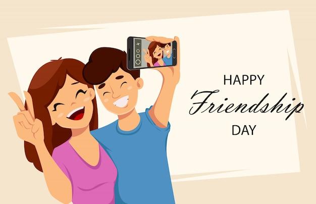 Tarjeta de felicitación feliz día de la amistad Vector Premium