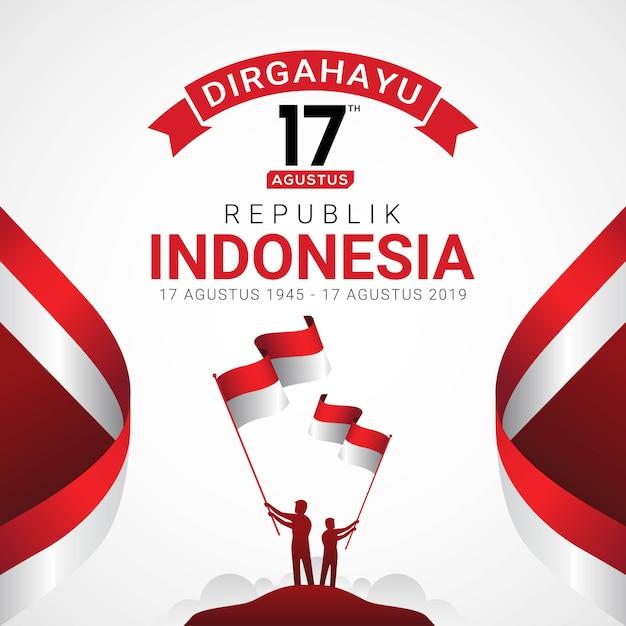 Tarjeta de felicitación feliz día de la independencia de indonesia Vector Premium