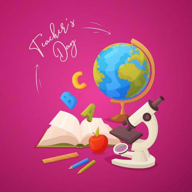 Tarjeta de felicitación feliz del día del maestro con microscopio, manzana, lápices, libro abierto, globo y regla. Vector Premium