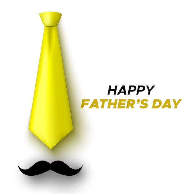 Tarjeta de felicitación feliz del día del padre. corbata amarilla y bigote. ilustración. Vector Premium