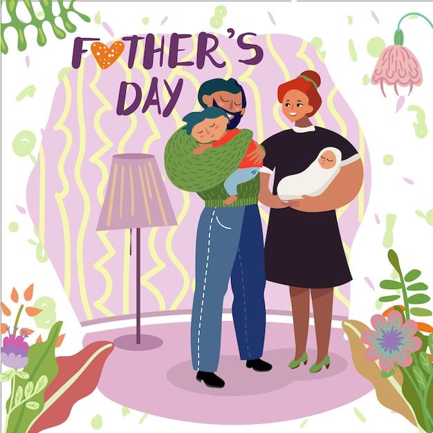 Tarjeta de felicitación feliz del día de padres, padres e hijos Vector Premium