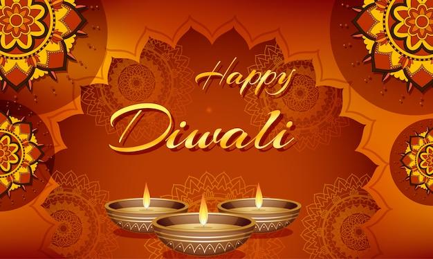 Tarjeta de felicitación feliz del festival de diwali vector gratuito