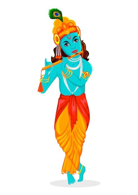 Tarjeta de felicitación feliz de krishna janmashtami Vector Premium
