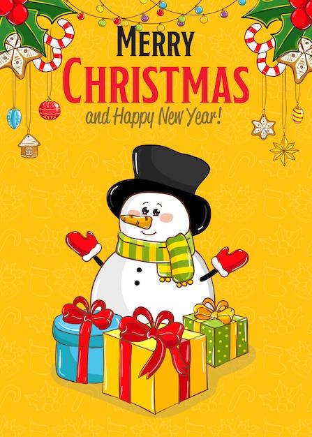 Tarjeta de felicitación de feliz navidad y año nuevo Vector Premium