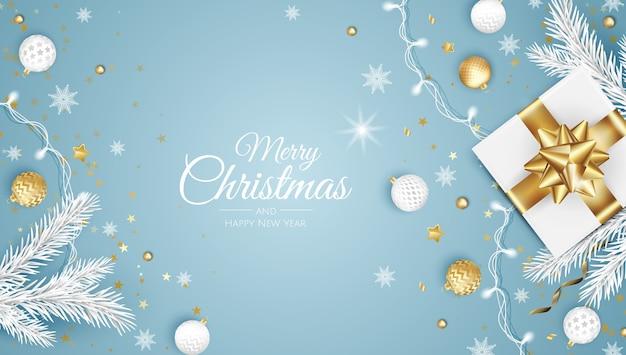Tarjeta de felicitación de feliz navidad con árbol de año nuevo. Vector Premium