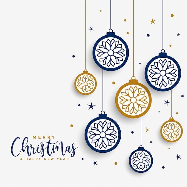 Tarjeta de felicitación de feliz navidad blanca con bolas decorativas vector gratuito