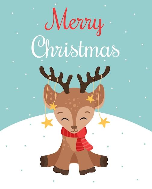 Tarjeta de felicitación de feliz navidad con ciervo lindo bebé en la bufanda roja, ilustración vectorial Vector Premium