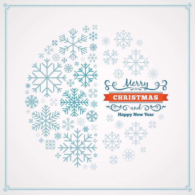 Tarjeta de felicitación de feliz navidad y feliz año nuevo con diseño hecho de copos de nieve Vector Premium