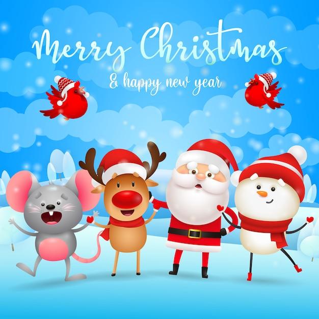 Tarjeta de felicitación de feliz navidad con santa claus, renos, muñeco de nieve y ratón vector gratuito