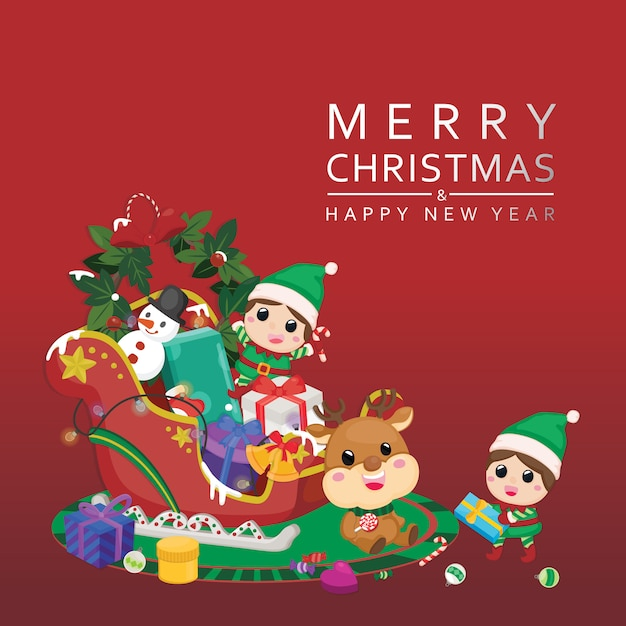 Tarjeta de felicitación festiva de celebración de navidad. feliz navidad con renos y duendes con decoración navideña. Vector Premium