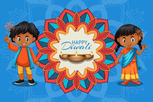Tarjeta de felicitación del festival de diwali con niños y velas vector gratuito