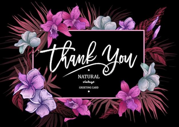Tarjeta de felicitación floral vintage tropical de verano Vector Premium