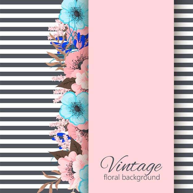 tarjeta de felicitaci u00f3n con flores  acuarela  marco de vectores