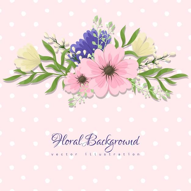 Tarjeta de felicitación con flores, acuarela. marco de vectores vector gratuito