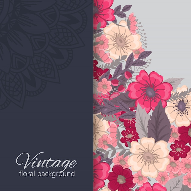 Tarjeta de felicitación con flores vector gratuito