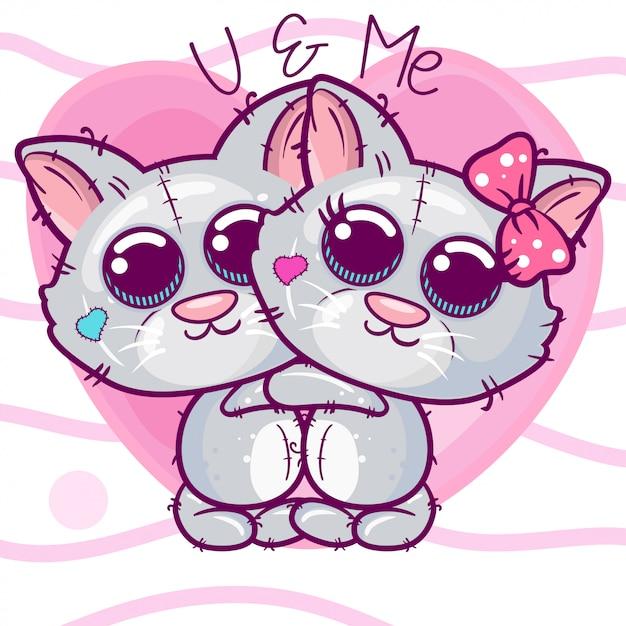 Tarjeta de felicitación gatitos niño y niña sobre un fondo de corazón Vector Premium