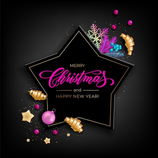 Tarjeta de felicitación holiday's for merry christmas con objetos coloridos realistas, decorada con bolas navideñas, estrellas doradas, copos de nieve, cintas de fiesta rizadas Vector Premium