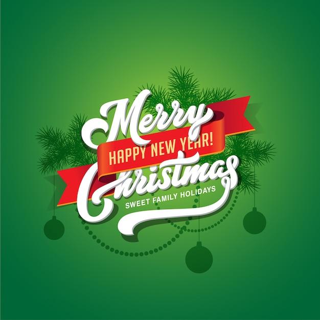Tarjeta de felicitación de letras caligráficas de feliz navidad y feliz año nuevo texto Vector Premium