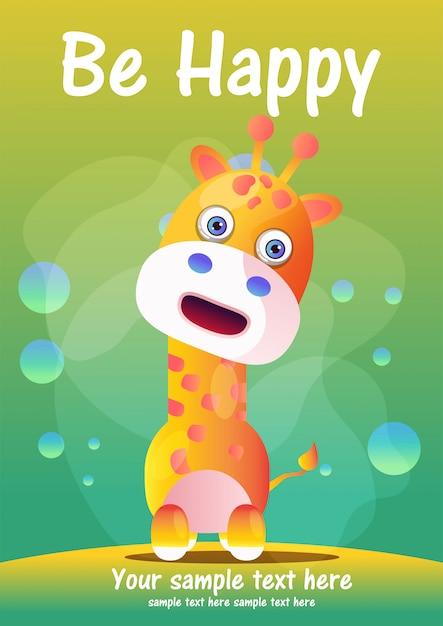 Tarjeta de felicitación linda jirafa dibujos animados Vector Premium