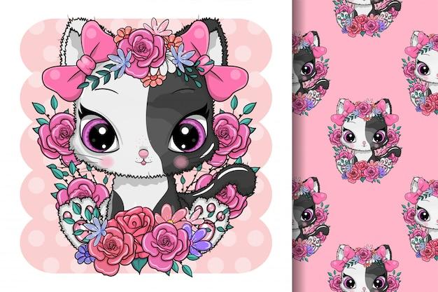 Tarjeta de felicitación lindo gatito con flores Vector Premium